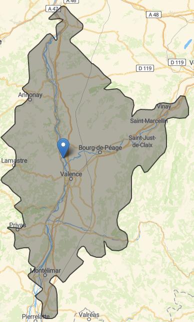 Zone de chalandise d'Enseignes du Rhône